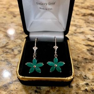 2.8 Carat 14K Gold Natural Emerald Earrings